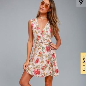 Lulu's Best in Bloom Blush Wrap Dress
